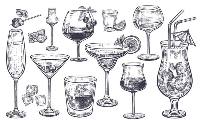 Alcoholic drinks set