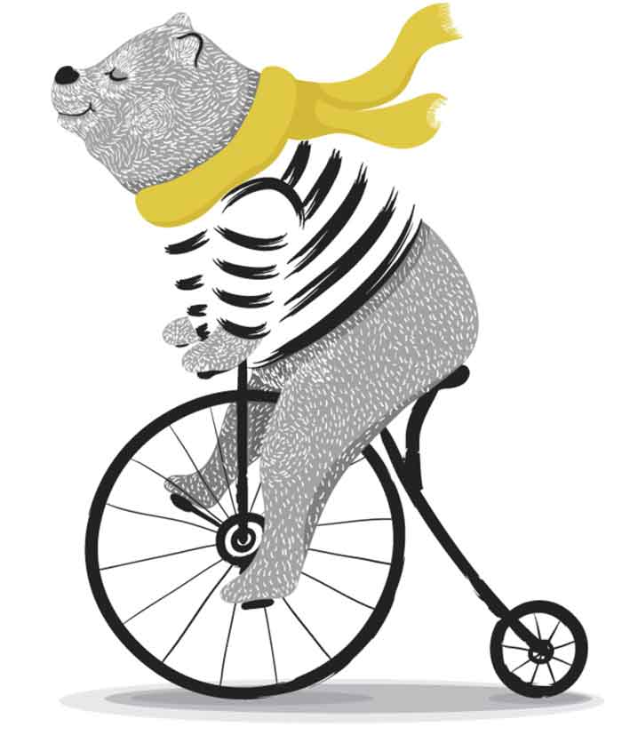 Cute bear with bicycle