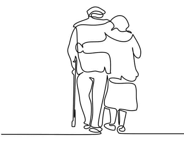 Elderly couple hugging and walking