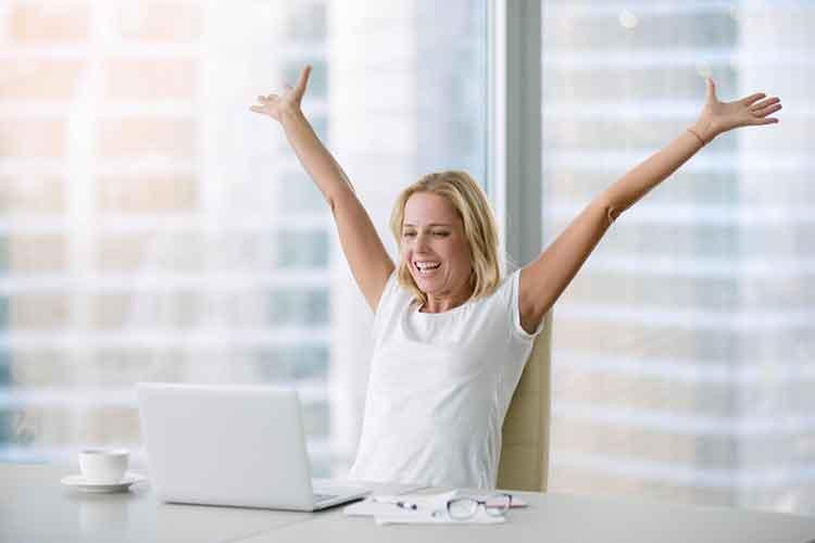 Happy lady doing her job