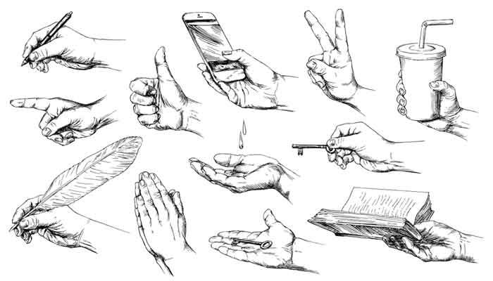 Set of hand drawn hands