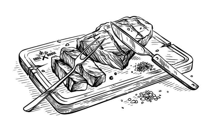 Sliced grilled bull steak striploin