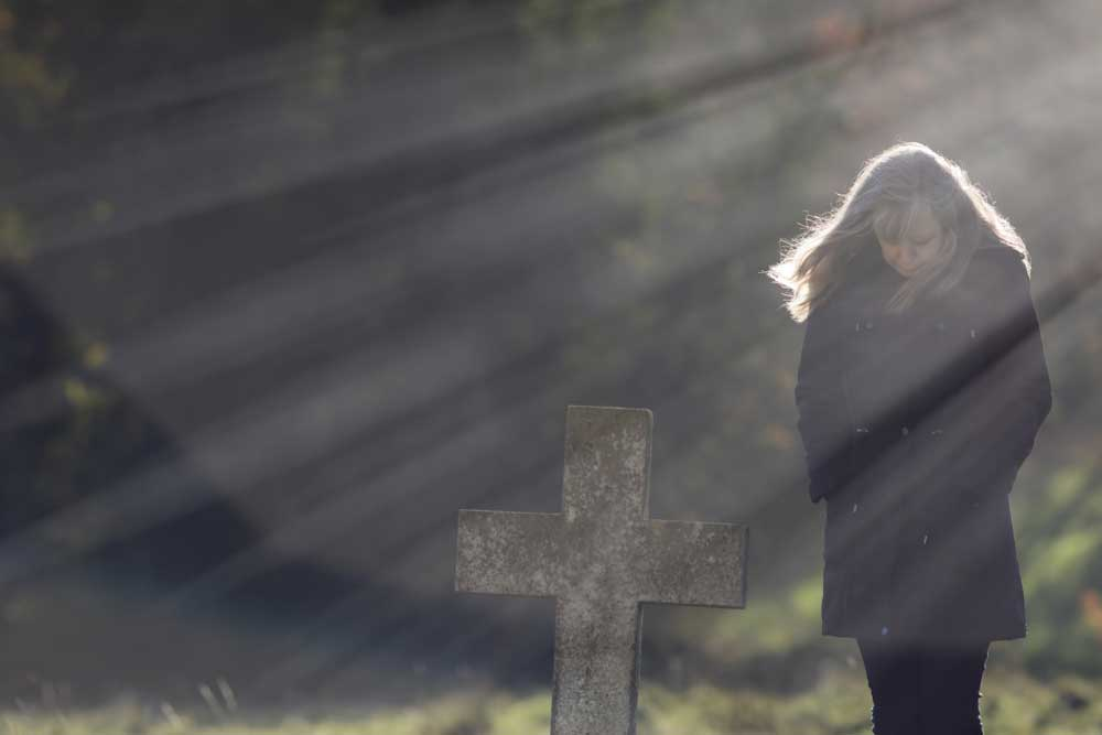 Woman grieving
