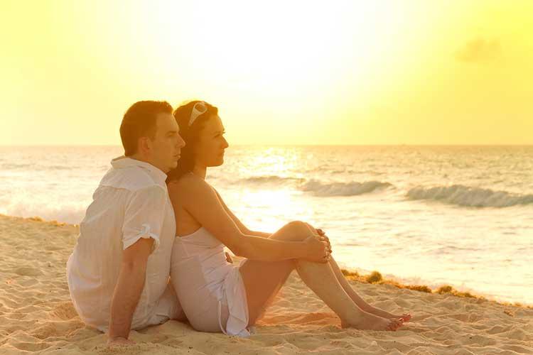 couple watching ocean waves
