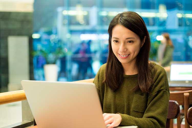 Lady conversing via online dating